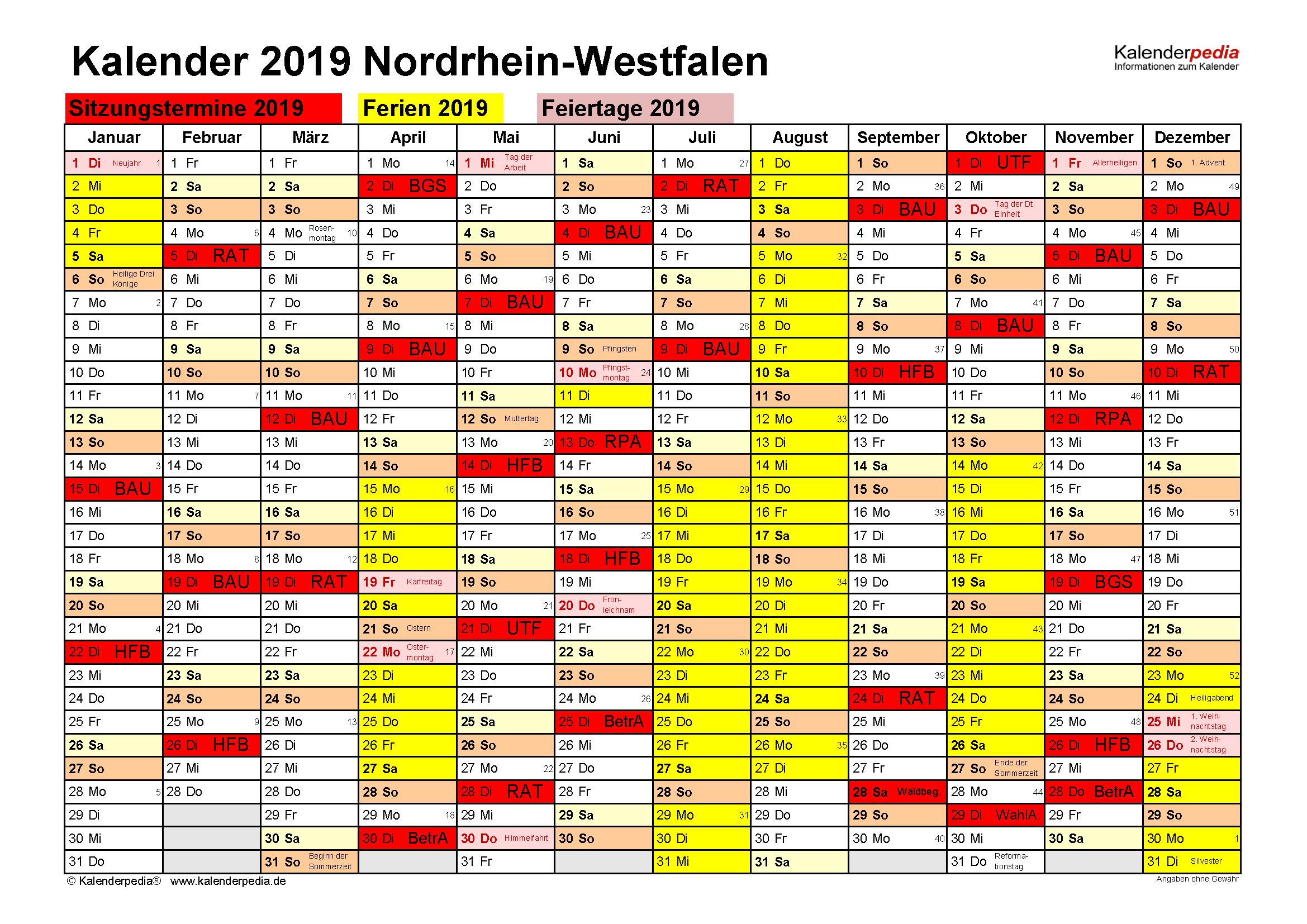 Kalender Sitzung 2019