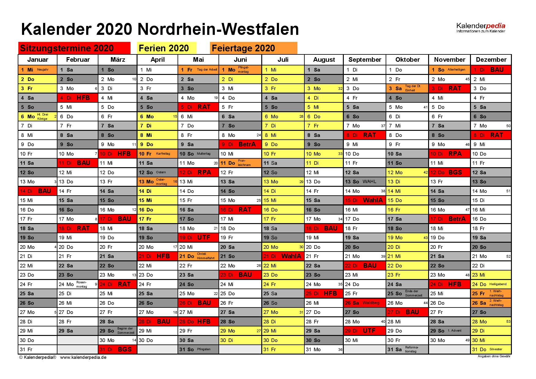 Kalender Sitzung 2020
